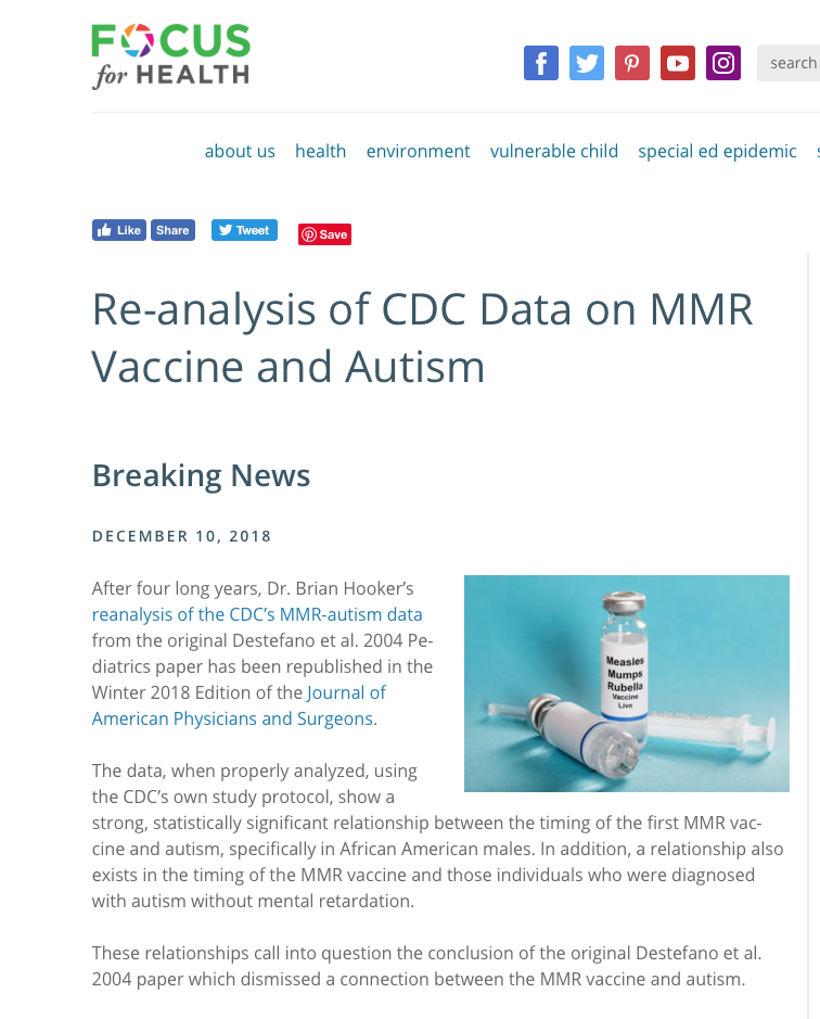 Vaccines Brian Hooker Does Re >> Re Analysis Of Cdc Data On Mmr Vaccine And Autism Vaccine Risks